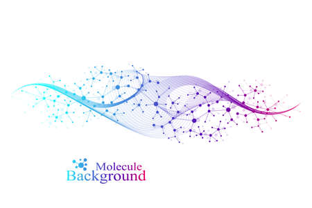 Colorful molecules background. DNA helix, DNA strand, DNA Test. Molecule or atom, neurons. Abstract structure for science or medical background, banner. Scientific vector illustration