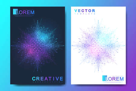 Modern vector template for brochure, leaflet, flyer, cover, banner, catalog, magazine, or annual report in A4 size. Futuristic science and technology design. Geometric graphic background molecule Иллюстрация