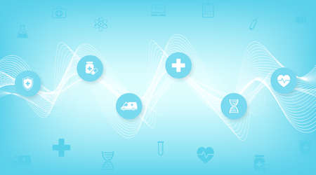 Abstract health care banner template with flat icons. Healthcare medicine concept. Medical innovation technology pharmacy banner. Vector illustration Ilustração
