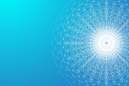 Erweiterung des Lebens. Bunter Explosionshintergrund mit verbundener Linie und Punkten, Wellenfluss. Visualisierung Quantentechnologie. Abstrakte grafische Hintergrundexplosion, Bewegungsburst, Vektorillustration.