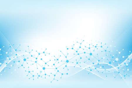 Hintergrund der bunten Moleküle. DNA-Helix, DNA-Strang, DNA-Test. Molekül oder Atom, Neuronen. Abstrakte Struktur für wissenschaftlichen oder medizinischen Hintergrund, Banner. Wissenschaftliche molekulare Vektorillustration Vektorgrafik