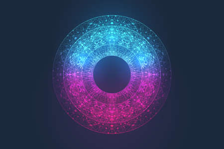 Quantum computer technology concept. Deep learning artificial intelligence. Big data algorithms visualization for business, science, technology. Waves flow, dots, lines. Quantum vector illustration