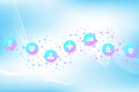 Abstract health care banner template with flat icons. Healthcare medicine concept. Medical innovation technology pharmacy banner. Vector illustration