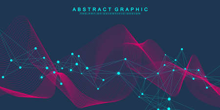 Digits abstract background with connected lines and dots, wave flow. Digital neural networks. Network and connection background for your presentation. Graphic polygonal background. Vector illustration Illusztráció