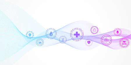Abstract health care banner template with flat icons. Healthcare medicine concept. Medical innovation technology pharmacy banner. Vector illustration. Illustration