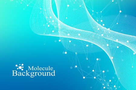 科学的ベクターのイラスト遺伝子工学と遺伝子操作の概念。DNAヘリックス、DNA鎖、分子または原子、ニューロン。科学や医学的背景のための抽象的な構造。波流