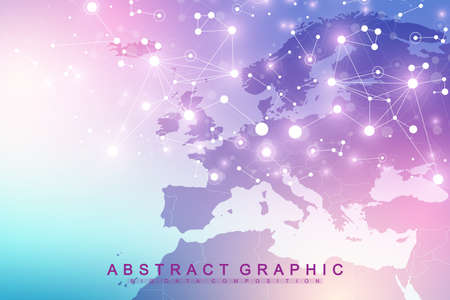 Nano technologies abstract background. Cyber technology concept. Artificial Intelligence, virtual reality bionics robotics global network microprocessor nano robots. Vector illustration, banner. Illustration