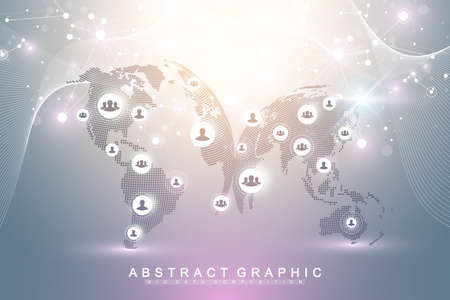 Social media network and marketing concept on virtual background. Global business and internet technology. Analytical networks. Artificial Intelligence, bionics, robotics, global network, vector