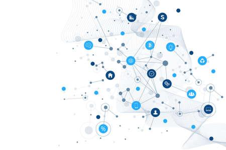 Internet rzeczy IoT i koncepcja sieci do prezentacji projektu. Futurystyczne tło połączenia sieciowego dla handlu światowego. Internet rzeczy biznes przemysł 4.0. Ilustracja wektorowa