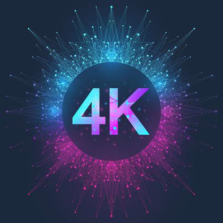 4K Ultra HD badge vector icon. Abstract gradient background style 4K UHD TV symbol Ilustração