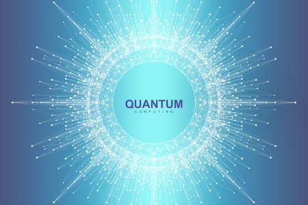 Technologie informatique quantique d'illustration vectorielle scientifique. Effet de fiction Plexus. Apprentissage profond de l'intelligence artificielle. Visualisation d'algorithmes de Big Data. Fond d'explosion quantique.