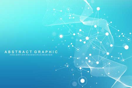 Big Genomic Data Visualization. DNA helix, DNA strand, DNA Test. CRISPR CAS9 - Genetic engineering. Molecule or atom, neurons. Abstract structure for Science or medical background, banner. Wave flow.