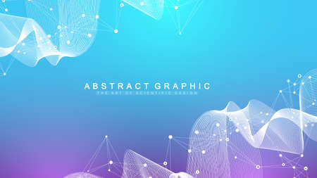 Geometric abstract background with connected lines and dots. Wave flow. Molecule and communication background. Graphic background for your design. Vector illustration. Vetores
