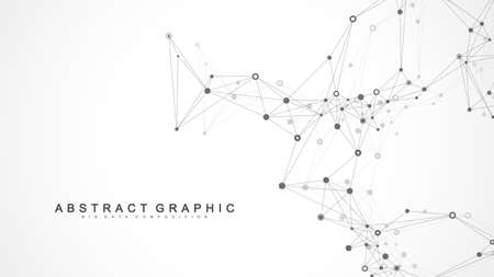 Big data visualization. Wave flow background. Graphic abstract background communication. Perspective backdrop visualization. Analytical network visualization. Vector illustration