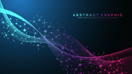 Colorful molecules background. DNA helix, DNA strand, DNA Test. Molecule or atom, neurons. Abstract structure for science or medical background, banner. Scientific molecular vector illustration. Ilustração Vetorial
