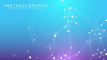 Geometric abstract background with connected line and dots. Network and connection background for your presentation. Graphic polygonal background. Wave flow. Scientific vector illustration. Vettoriali