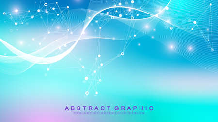 Colorful molecules background. DNA helix, DNA strand, DNA Test. Molecule or atom, neurons. Abstract structure for science or medical background, banner. Scientific molecular vector illustration.