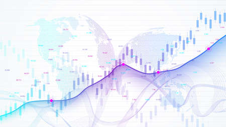 Stock market and exchange. Business Candle stick graph chart of stock market investment trading. Stock market data. Bullish point, Trend of graph. Vector illustration. Vector Illustration
