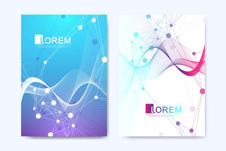 Modern vector template for brochure, leaflet, flyer, cover, catalog in A4 size. DNA helix, DNA strand, molecule or atom, neurons. Abstract structure for Science or medical background.
