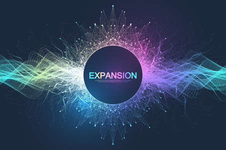 Colorful explosion background with connected line and dots, wave flow. Visualization expansion of life. Abstract graphic background explosion, motion burst. Expansion of life vector illustration