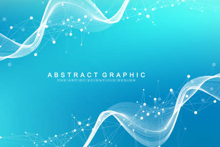 Geometric abstract background with connected line and dots. Network and connection background for your presentation. Graphic polygonal background. Wave flow. Scientific vector illustration