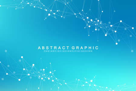 Abstract perspective background with connected line and dots. Network and connection background for your presentation. Big data visualization. Graphic polygonal background. Vector illustration