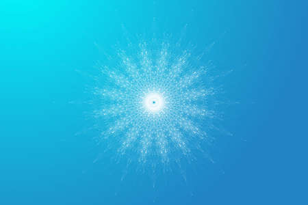 Quantum computer technology concept. Sphere explosion background. Deep learning artificial intelligence. Big data algorithms visualization. Waves flow. Quantum explosion, vector illustration. 矢量图像