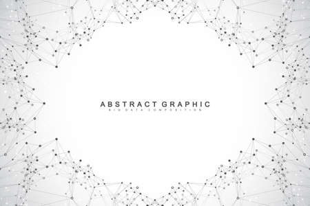 Graphic abstract background communication. Big data visualization. Connected lines with dots. Social networking. Illusion of depth and perspective. Vector illustration. 矢量图像