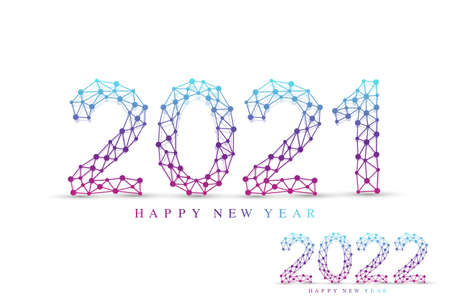 Text design Christmas and Happy new year 2021, 2022 . Graphic background communication 2021 and 2022. Connected lines with dots. Design element for presentations, flyers, posters, vector illustration.