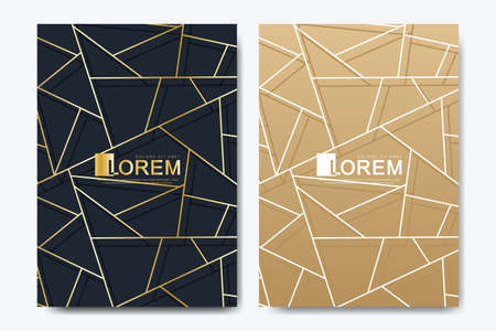 Modern vector template for brochure, leaflet, flyer, advert, cover, magazine or annual report in the A4 size. Golden company style for brandbook and guideline. Art deco style. 矢量图像