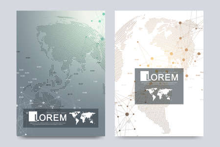 Modern vector template for brochure, Leaflet, flyer, advert, cover, catalog, magazine or annual report. Business, science, medical design. Scientific cybernetic dots. Lines plexus. Card surface 矢量图像