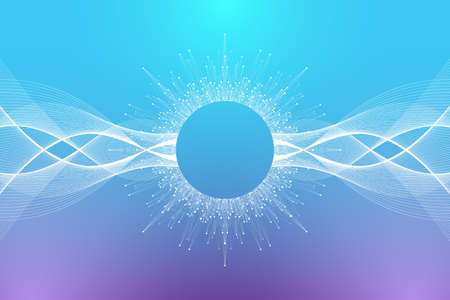 Quantum computer technology concept. Deep learning artificial intelligence. Big data algorithms visualization for business, science, technology. Waves flow, illustration.