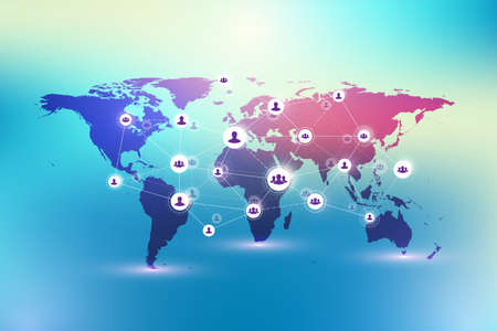 Social media network and marketing concept on World Map background. Global business concept and internet technology, Analytical networks, illustration.