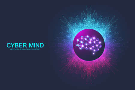 Cyber mind and Artificial Intelligence concept. Neural networks and another modern technologies concept. Brain Analysis. Futuristic cyber humanoid brain. Big Data stream. Technology vector brain