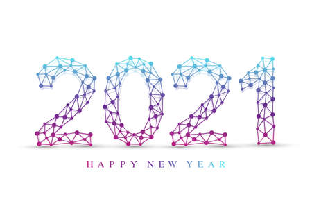 Text design Christmas and Happy new year 2021. Graphic background communication 2021. Connected lines with dots. Design element for presentations, postcard, flyers, leaflets and posters, illustration.
