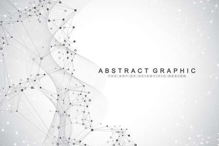 Geometric abstract background with connected lines and dots. Connectivity flow point. Molecule and communication background. Graphic connection background for your design. Vector illustration. 矢量图像
