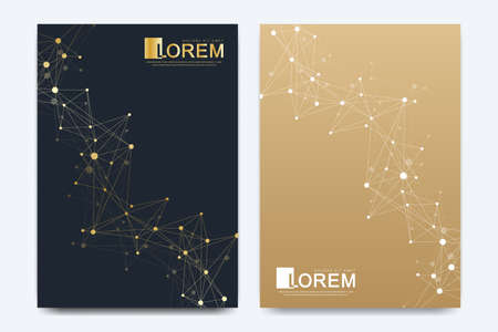 Modern vector template for brochure, Leaflet, flyer, advert, cover, catalog, magazine or annual report. Business, science, medical design. Scientific golden cybernetic dots. Lines plexus. Card surface