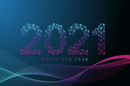 Text design Christmas and Happy new year 2021. Graphic background communication 2021. Connected lines with dots. Design for presentation, flyer, poster. Low poly wireframe digital vector illustration