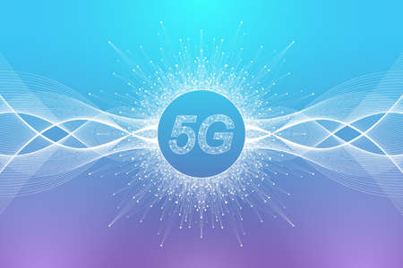 5G network wireless systems and internet vector illustration. Communication network. Business concept banner. Artificial Intelligence and Machine Learning Concept Banner.