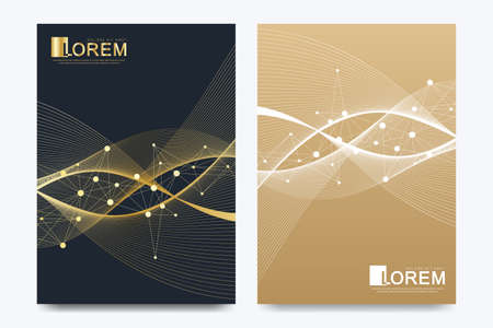 Modern vector template for brochure, Leaflet, flyer, advert, cover, catalog, magazine or annual report in the A4 size. Golden waves. Scientific golden cybernetic dots. Lines flow plexus. Card surface. 矢量图像