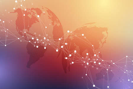 Virtual Graphic Background Communication with World Globe. A sense of science and technology. Digital data visualization, illustration. 免版税图像