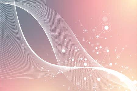 Big Genomic Data Visualization. DNA helix, DNA strand, DNA Test. Molecule or atom, neurons. Abstract structure for Science or medical background, banner, illustration 免版税图像