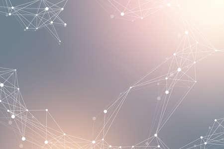 Geometric graphic background molecule and communication. Big data complex with compounds. Lines plexus, minimal array. Digital data visualization. Scientific cybernetic illustration.