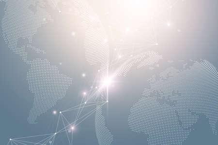 World map point with global technology networking concept. Digital data visualization. Lines plexus. Big Data background communication. Scientific illustration.