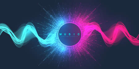 Music abstract background. Music wave poster design. Sound flyer with abstract gradient line waves, vector concept 矢量图像
