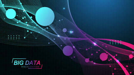 Innovative technologies for processing big data, analysis and structuring of information. Big data visualization. Big data machine learning algorithms. Capturing data. Futuristic vector illustration.