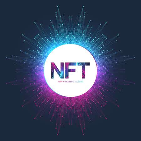 NFT non fungible token. Non-fungible tokens icon covering concept NFT. High-tech technology symbol logo vector.