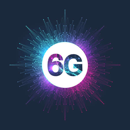 Concept of future technology 6G network wireless systems. The concept of 6G network, high-speed mobile Internet, new generation networks. Banner. Vector illustration.