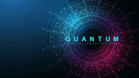 Quantum computer innovation technology concept. Sphere explosion background. Deep learning artificial intelligence. Big data algorithms visualization quantum explosion vector illustration 矢量图像