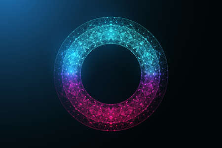 Digital neon color circle with connecting dots and lines in abstract style. Futuristic digital neon frame. Polygonal neon round shape, vector illustration. 矢量图像